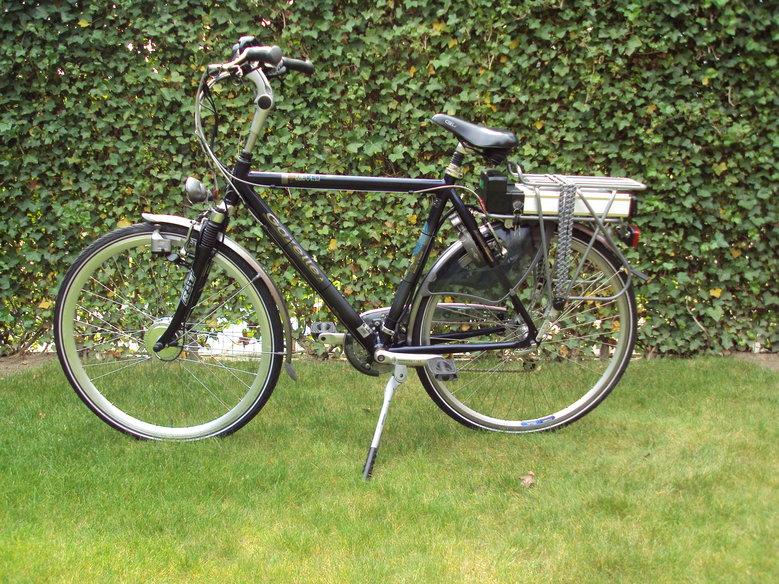 Gazelle Medeo met standaard Rollerbrake ombouwset en magneetschijf op het eerste tandwielblad.